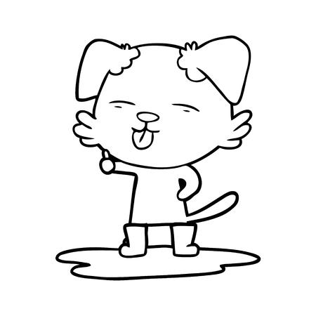 cartoon hond tong in plas uitsteekt Stock Illustratie