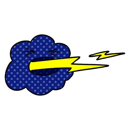 cartoon thundercloud spitting lightning Illustration