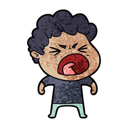 cartoon furious man Vector illustration.
