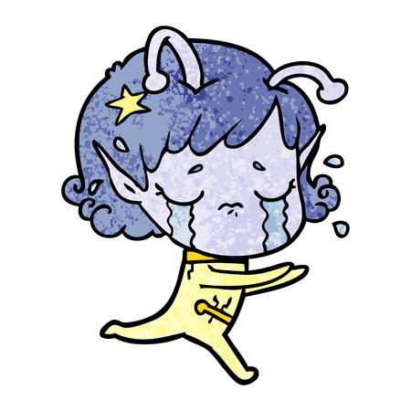 cartoon crying alien girl Illustration