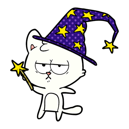 bored cartoon cat with wizard hat and wand