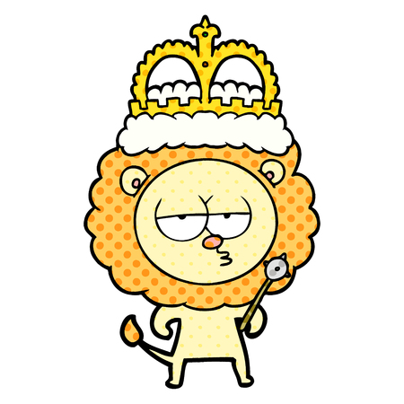 cartoon bored lion wearing crown Vector illustration.