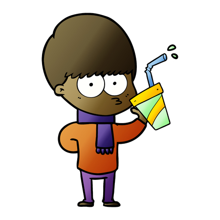 nervous cartoon boy Vector illustration.