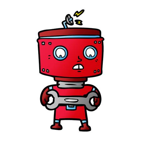 cartoon robot with spanner  イラスト・ベクター素材