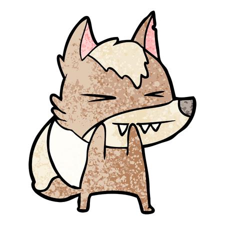 angry wolf cartoon Vector illustration.
