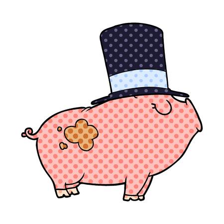 cartoon rich pig 向量圖像
