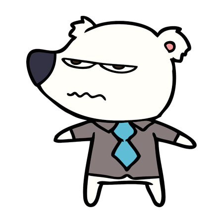 polar bear in shirt and tie cartoon Vector illustration.