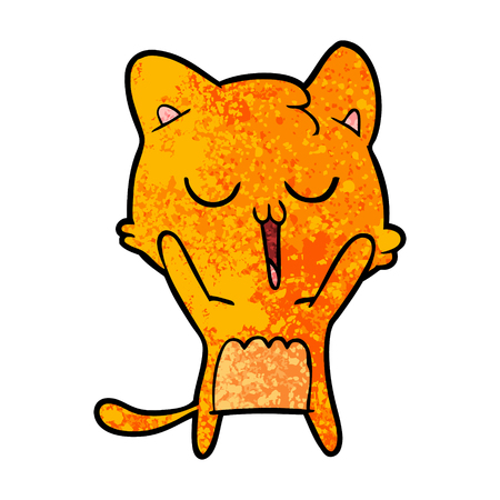 cartoon cat singing 向量圖像