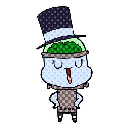 happy cartoon robot wearing top hat Vector illustration. Illustration