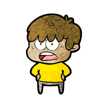 worried cartoon boy Vector illustration.