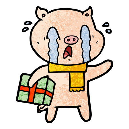 crying pig cartoon delivering christmas present Illustration