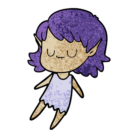 happy cartoon elf girl Vector illustration.