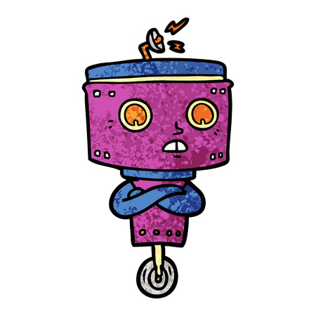 cartoon robot with crossed arms Vector illustration. Illustration