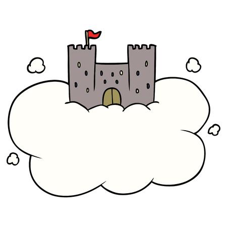 cartoon castle in sky Vector illustration.