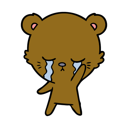 crying bear cartoon character Vector illustration.