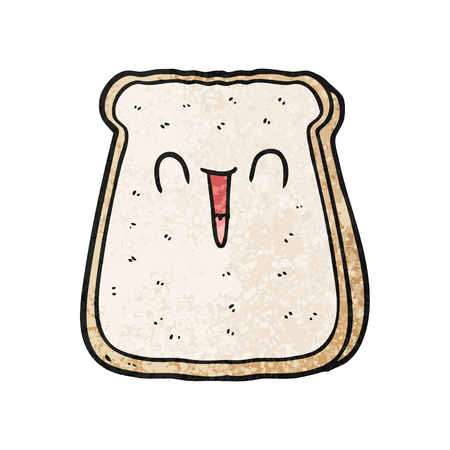 Hand drawn cartoon slice of bread