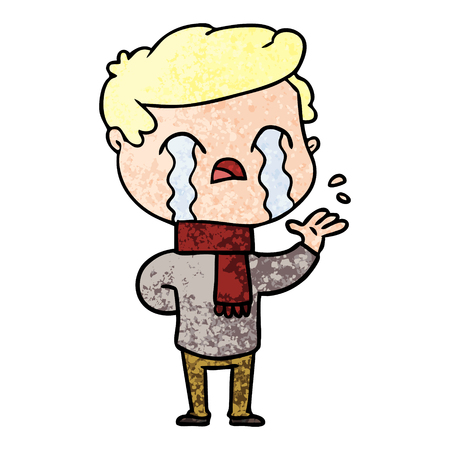 cartoon man crying wearing winter scarf Foto de archivo - 96555722