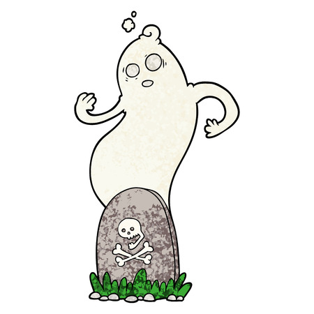 Hand drawn spooky cartoon grave with rising ghost