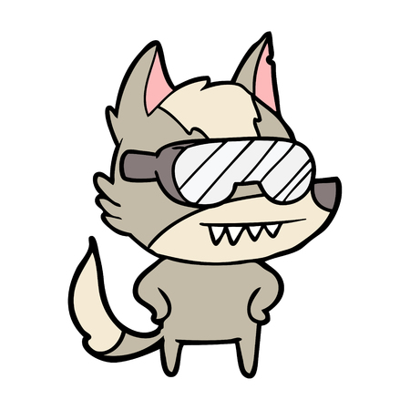 Hand drawn wolf wearing goggles cartoon