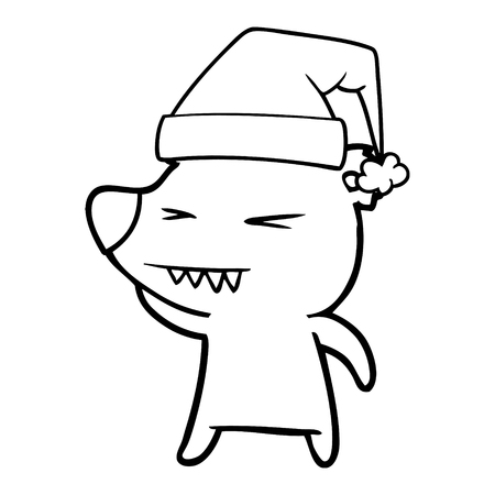 Hand drawn angry polar bear cartoon