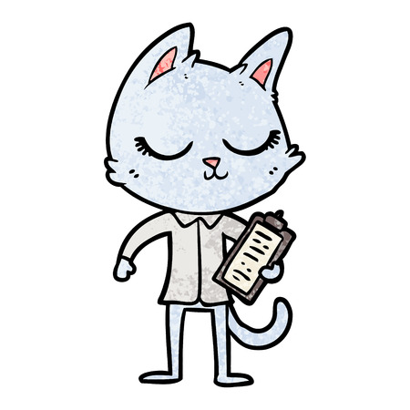 Hand drawn calm cartoon cat with clipboard