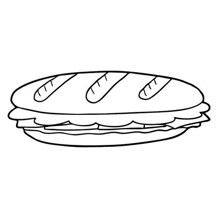 Cartoon baguette sandwich 일러스트