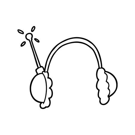 Hand drawn cartoon headphones Illustration