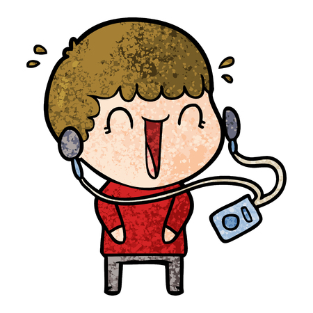 Hand drawn laughing cartoon man with earphones Stock Illustratie