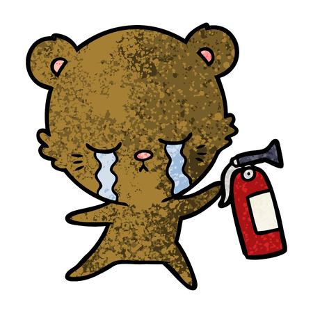 crying cartoon bear with fire extinguisher Standard-Bild - 96556327