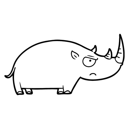 Hand drawn cartoon rhinoceros Иллюстрация