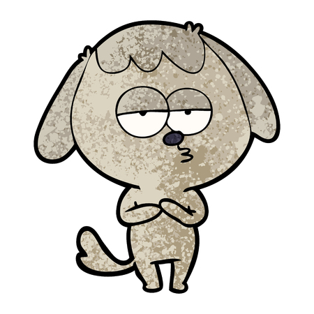 Hand drawn cartoon bored dog Ilustrace