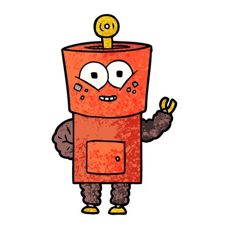 Hand drawn happy cartoon robot waving hello