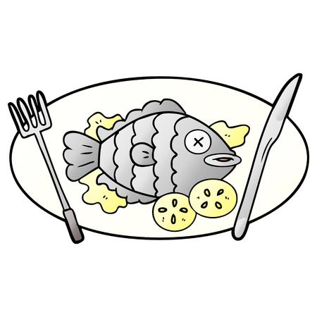 手描きの調理魚漫画  イラスト・ベクター素材