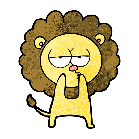 Hand drawn cartoon tired lion