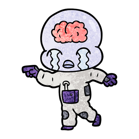 Hand drawn cartoon big brain alien crying Ilustrace