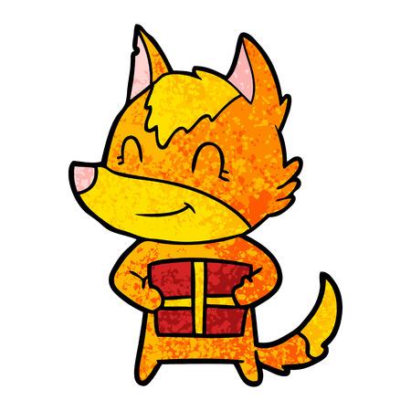 Hand drawn fox cartoon character with present Ilustração