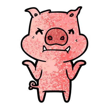 Hand drawn angry cartoon pig shrugging shoulders Illustration