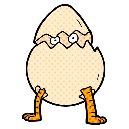 Hand drawn cartoon hatching egg Stock Illustratie