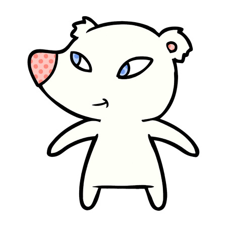 Hand drawn polar bear cartoon Illustration