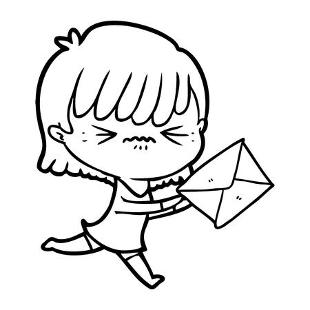 Hand drawn annoyed cartoon girl with letter Ilustração
