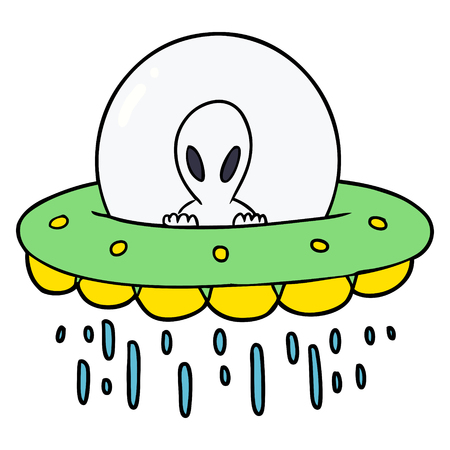 Hand drawn cartoon alien UFO