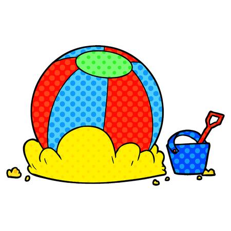 Hand drawn cartoon beach ball and bucket Stock Illustratie