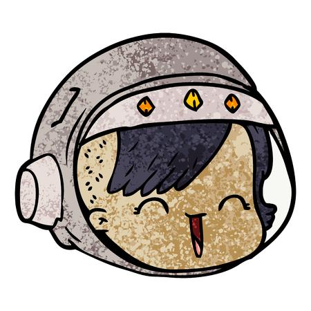 cartoon happy astronaut face