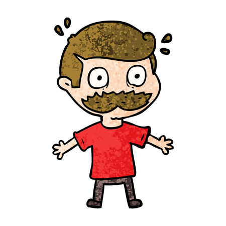 Hand drawn cartoon man with mustache shocked Stock Illustratie