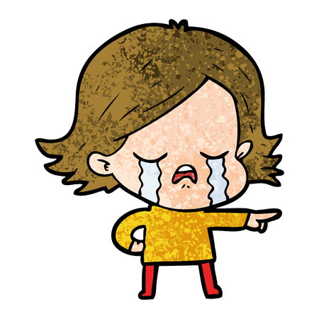 cartoon girl crying and pointing