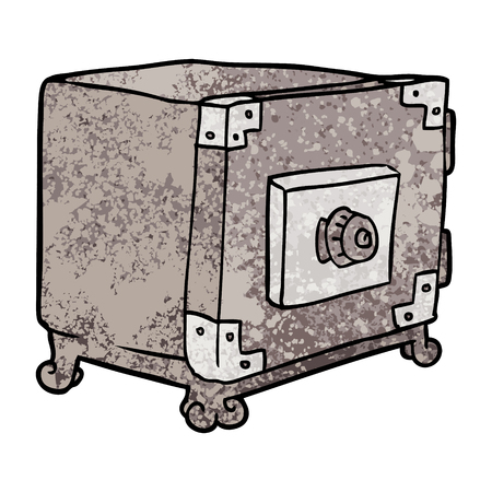 Hand drawn cartoon traditional safe Stock Illustratie