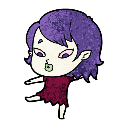 Hand drawn cute cartoon vampire girl