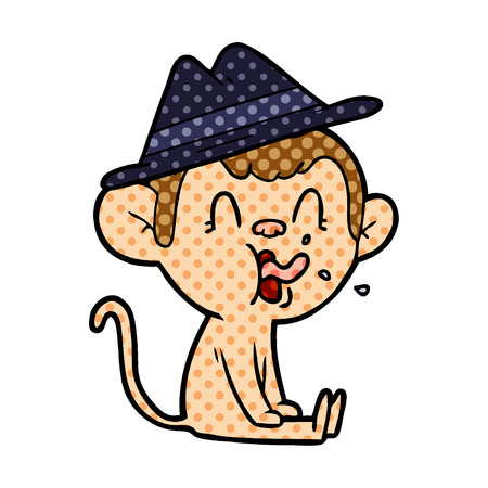 crazy cartoon monkey sitting Illustration