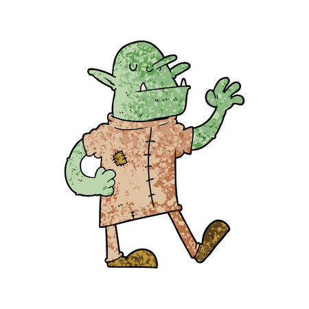 Hand drawn cartoon goblin