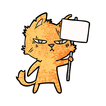 tough cartoon cat with protest sign